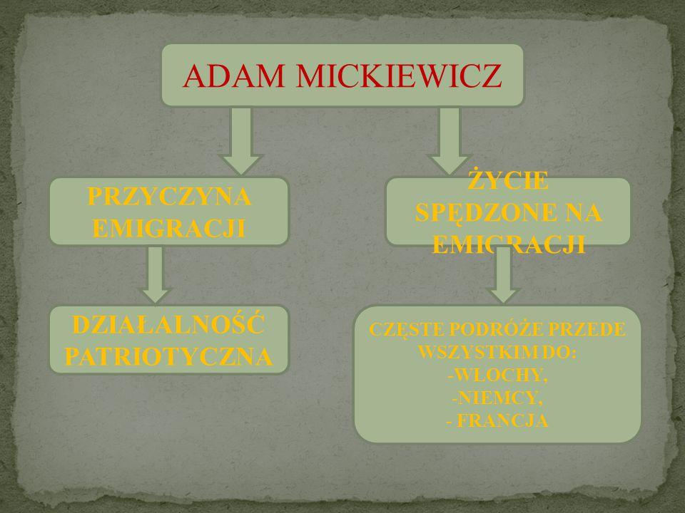 ADAM MICKIEWICZ PRZYCZYNA EMIGRACJI ŻYCIE SPĘDZONE NA EMIGRACJI