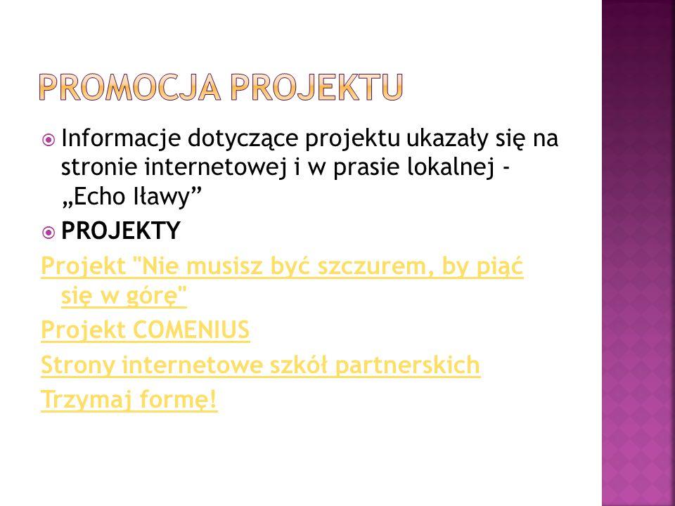 """Promocja projektu Informacje dotyczące projektu ukazały się na stronie internetowej i w prasie lokalnej - """"Echo Iławy"""
