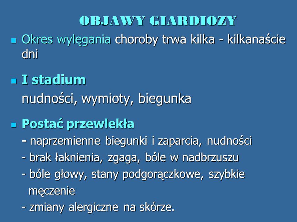 OBJAWY GIARDIOZY I stadium