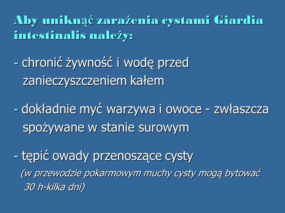 Aby uniknąć zarażenia cystami Giardia intestinalis należy: