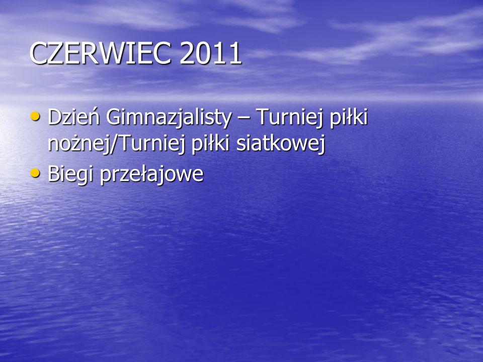CZERWIEC 2011 Dzień Gimnazjalisty – Turniej piłki nożnej/Turniej piłki siatkowej Biegi przełajowe
