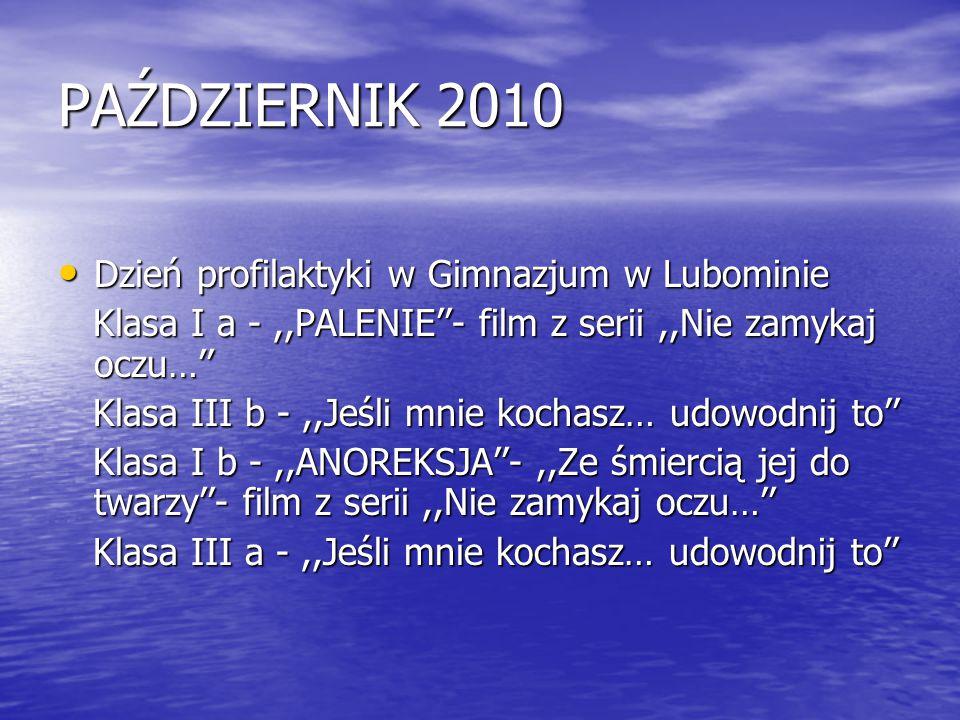 PAŹDZIERNIK 2010 Dzień profilaktyki w Gimnazjum w Lubominie
