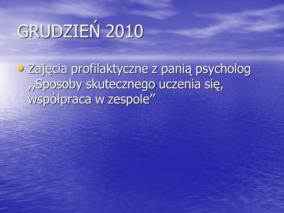 GRUDZIEŃ 2010 Zajęcia profilaktyczne z panią psycholog ,,Sposoby skutecznego uczenia się, współpraca w zespole''