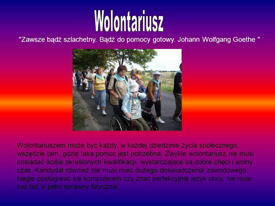 Wolontariusz Zawsze bądź szlachetny. Bądź do pomocy gotowy. Johann Wolfgang Goethe