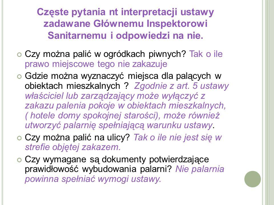 Częste pytania nt interpretacji ustawy zadawane Głównemu Inspektorowi Sanitarnemu i odpowiedzi na nie.