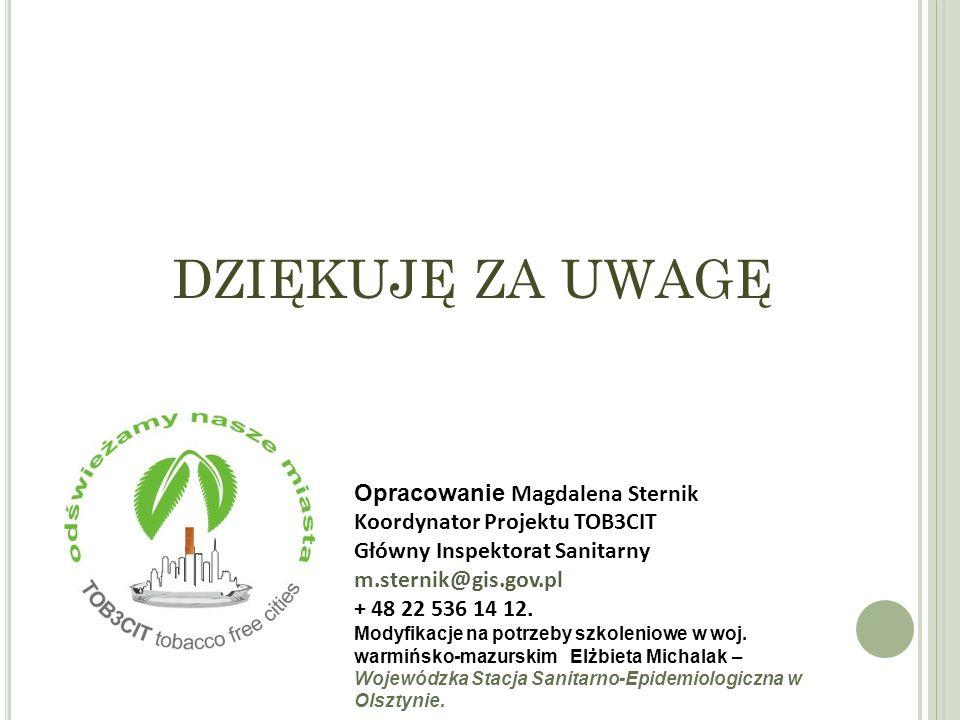 DZIĘKUJĘ ZA UWAGĘ Opracowanie Magdalena Sternik