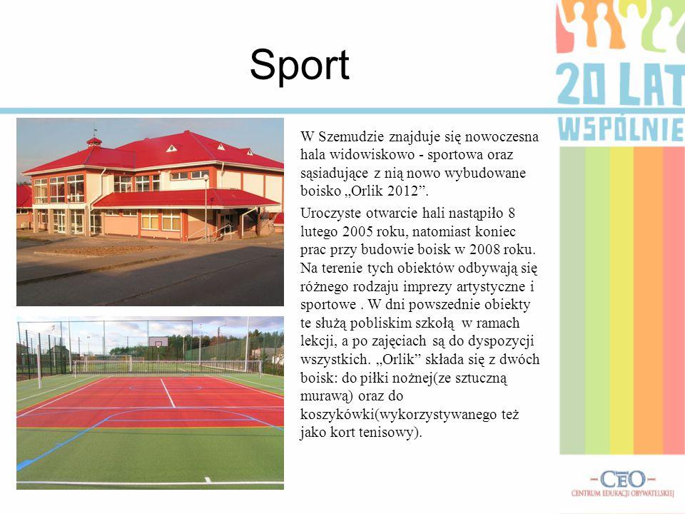 """Sport W Szemudzie znajduje się nowoczesna hala widowiskowo - sportowa oraz sąsiadujące z nią nowo wybudowane boisko """"Orlik 2012 ."""
