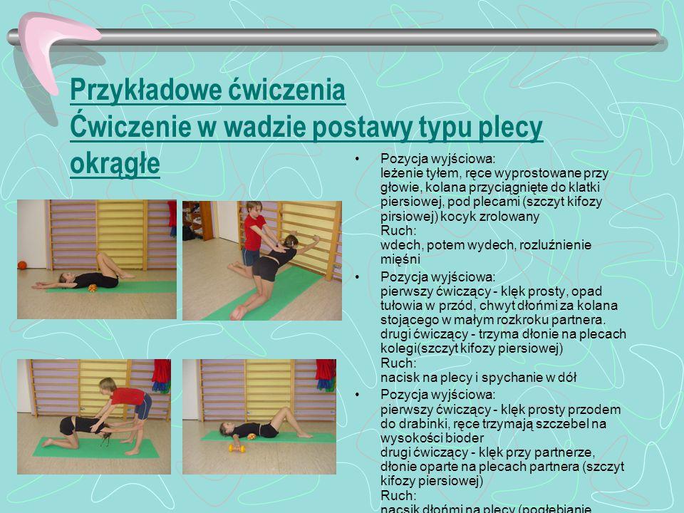 Przykładowe ćwiczenia Ćwiczenie w wadzie postawy typu plecy okrągłe