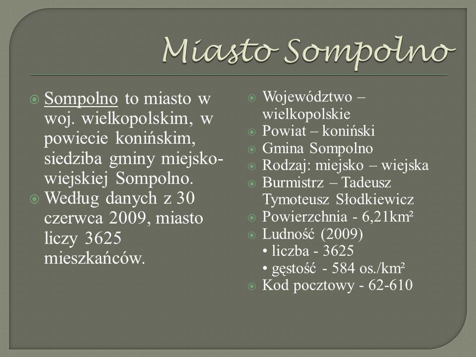 Miasto Sompolno Sompolno to miasto w woj. wielkopolskim, w powiecie konińskim, siedziba gminy miejsko-wiejskiej Sompolno.