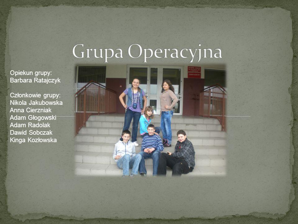 Grupa Operacyjna Opiekun grupy: Barbara Ratajczyk Członkowie grupy:
