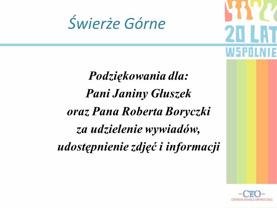 Świerże Górne Podziękowania dla: Pani Janiny Głuszek
