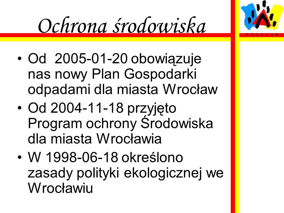 Ochrona środowiska Od 2005-01-20 obowiązuje nas nowy Plan Gospodarki odpadami dla miasta Wrocław.