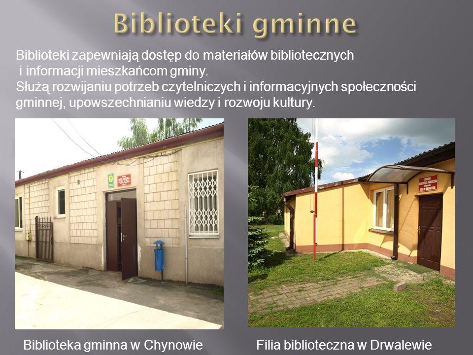 Biblioteki gminne Biblioteki zapewniają dostęp do materiałów bibliotecznych.