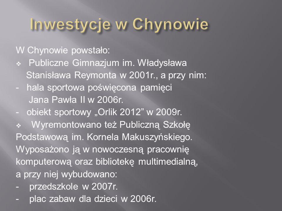 Inwestycje w Chynowie W Chynowie powstało: