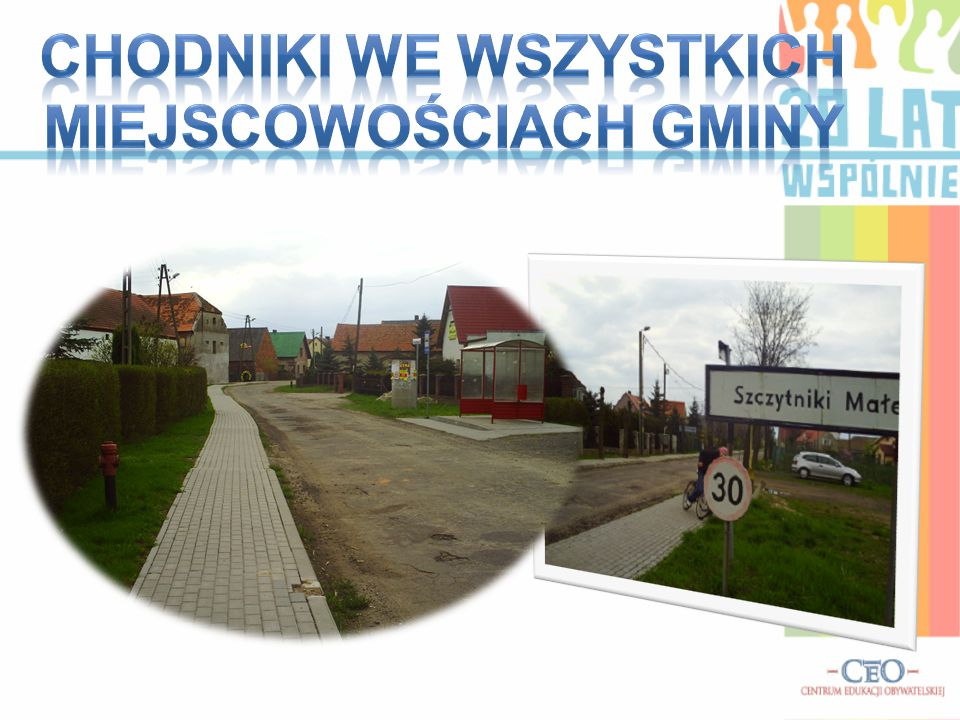 Chodniki we wszystkich miejscowościach gminy