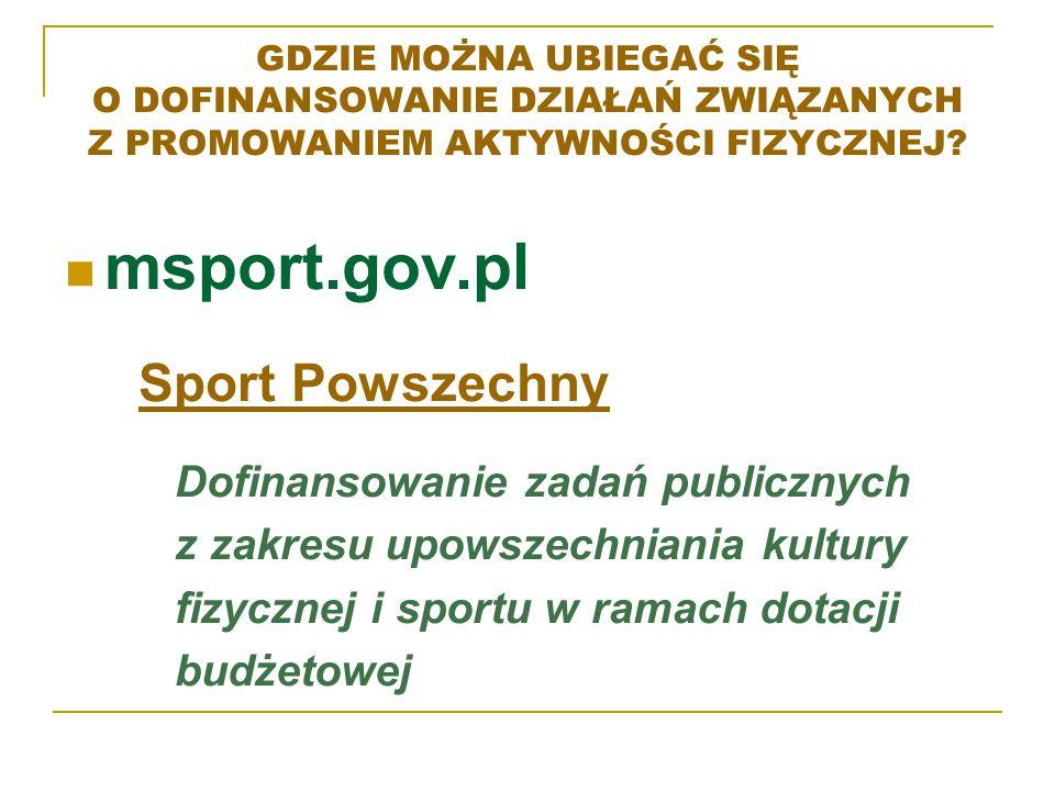 msport.gov.pl Sport Powszechny Dofinansowanie zadań publicznych