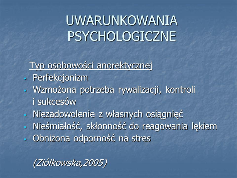 UWARUNKOWANIA PSYCHOLOGICZNE