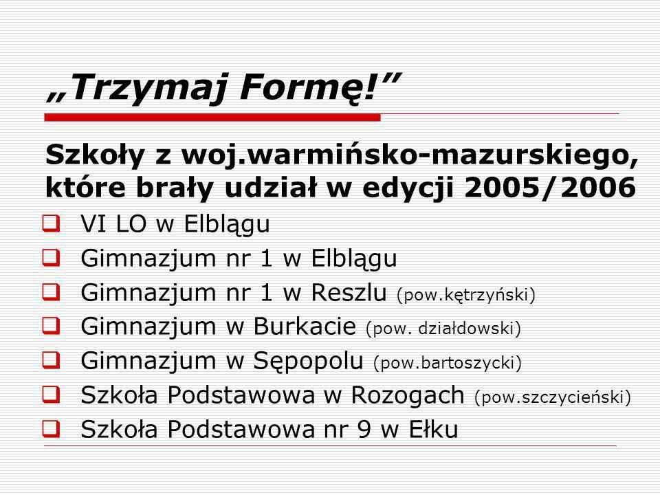 """""""Trzymaj Formę! Szkoły z woj.warmińsko-mazurskiego, które brały udział w edycji 2005/2006. VI LO w Elblągu."""