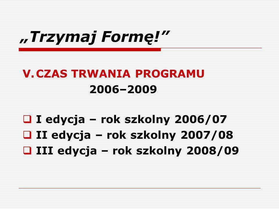 """""""Trzymaj Formę! V. CZAS TRWANIA PROGRAMU"""