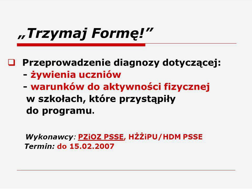 """""""Trzymaj Formę! Przeprowadzenie diagnozy dotyczącej:"""