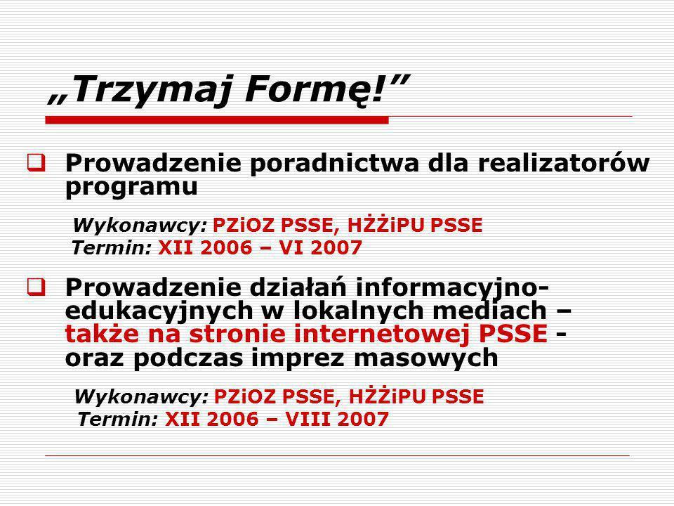 """""""Trzymaj Formę! Prowadzenie poradnictwa dla realizatorów programu"""