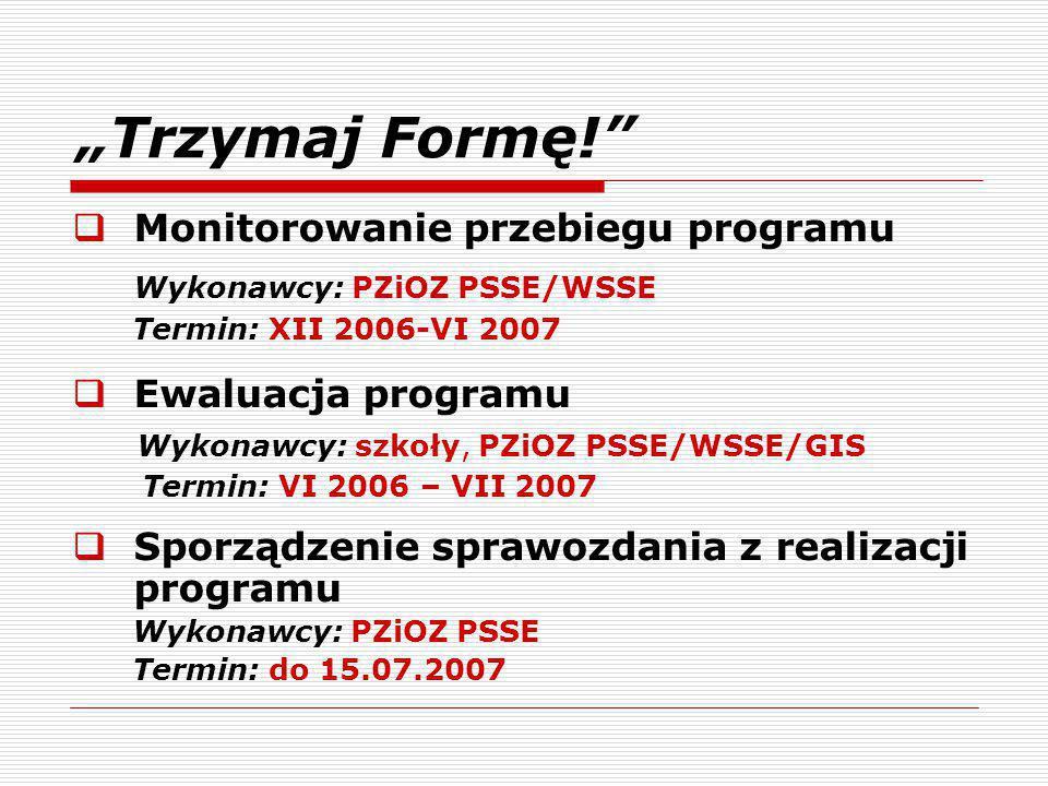 """""""Trzymaj Formę! Wykonawcy: PZiOZ PSSE/WSSE"""