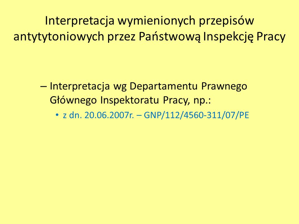 Interpretacja wymienionych przepisów antytytoniowych przez Państwową Inspekcję Pracy