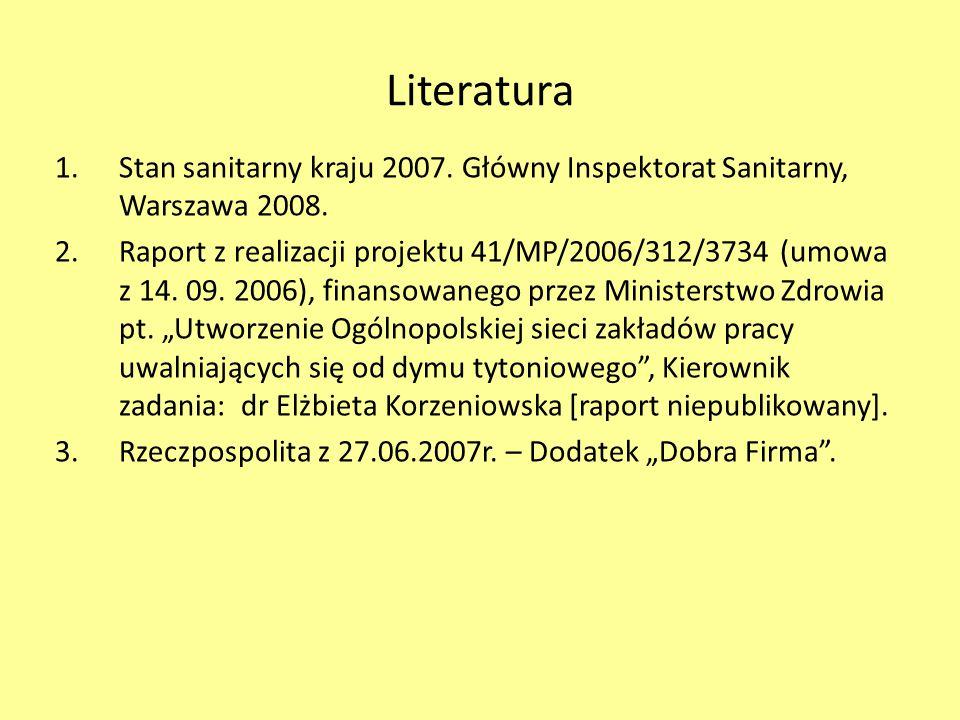 Literatura Stan sanitarny kraju 2007. Główny Inspektorat Sanitarny, Warszawa 2008.