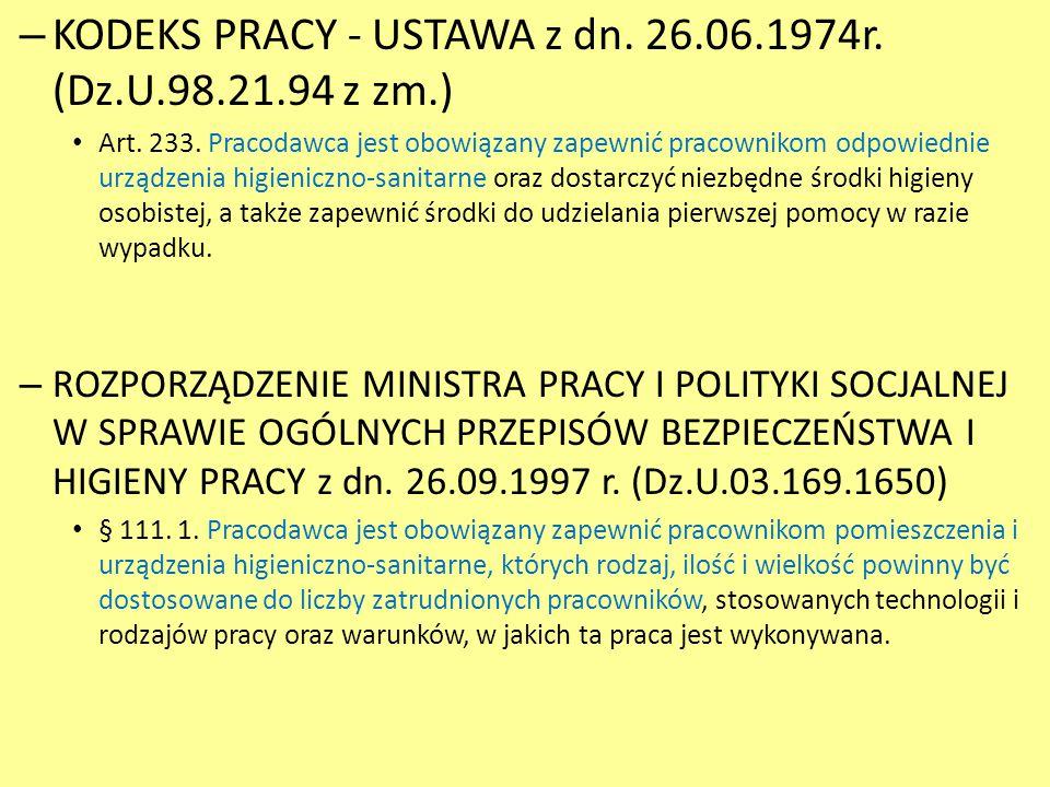 KODEKS PRACY - USTAWA z dn. 26.06.1974r. (Dz.U.98.21.94 z zm.)