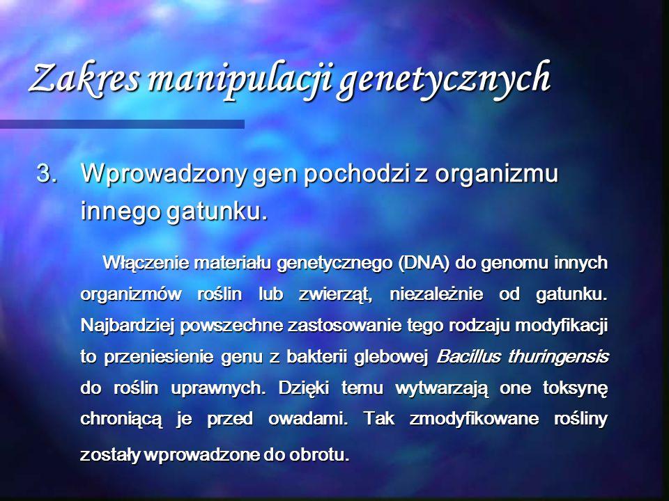 Zakres manipulacji genetycznych