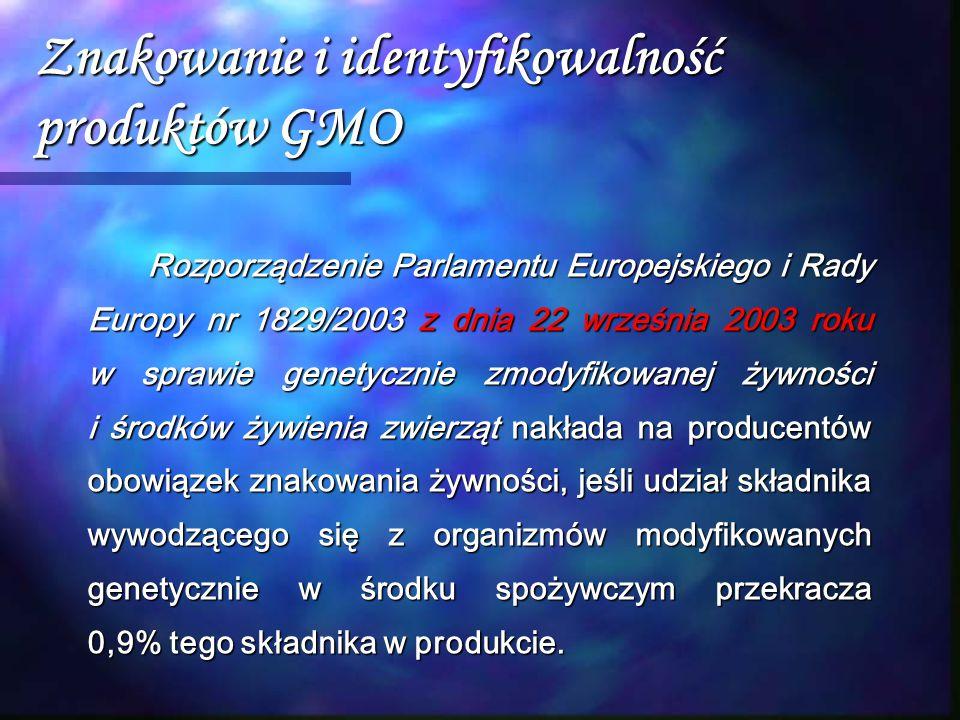 Znakowanie i identyfikowalność produktów GMO