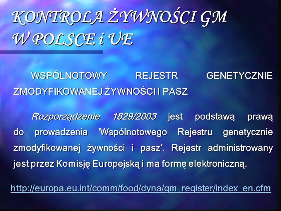 KONTROLA ŻYWNOŚCI GM W POLSCE i UE