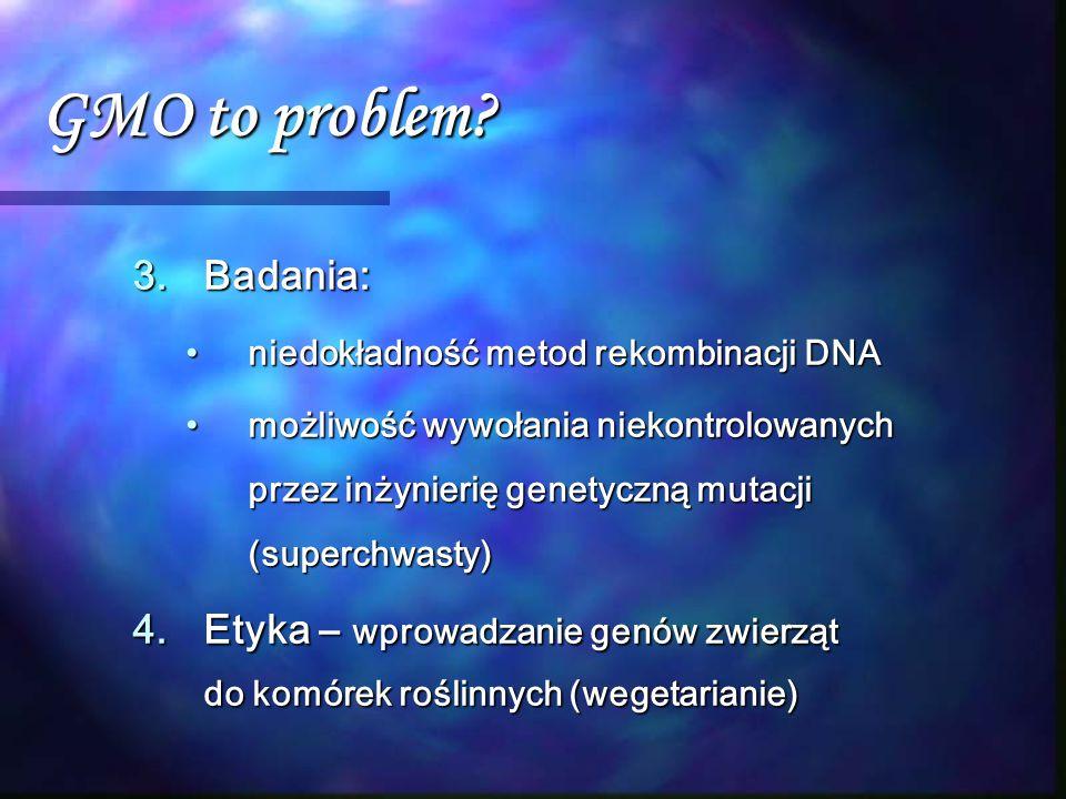 GMO to problem Badania: