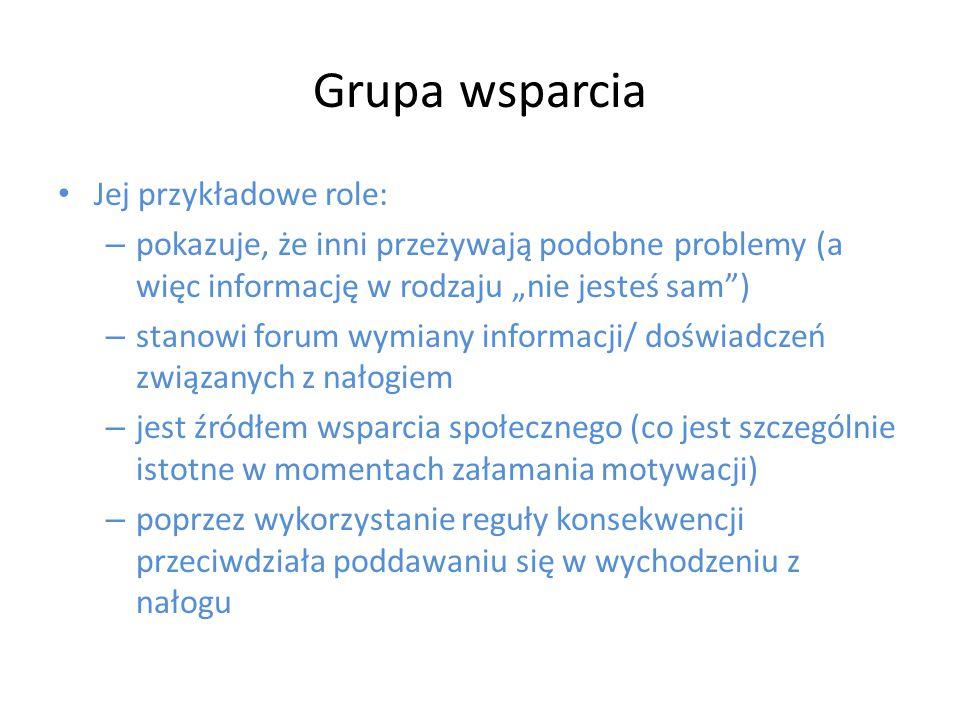 Grupa wsparcia Jej przykładowe role:
