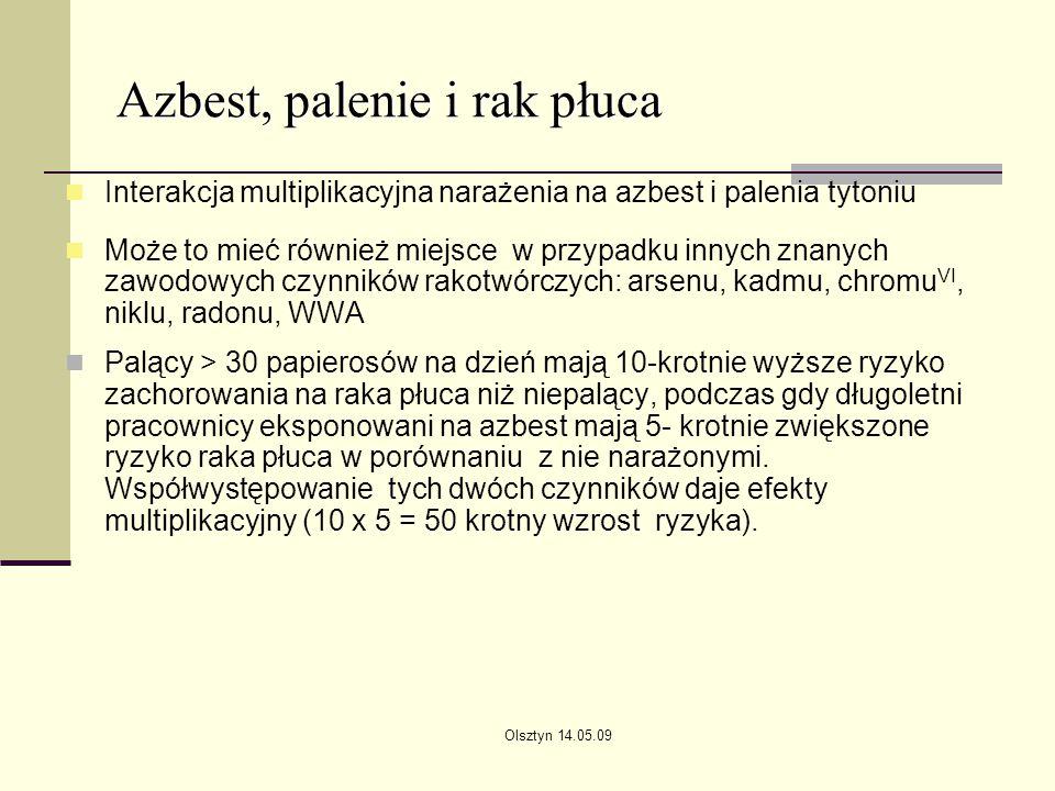 Azbest, palenie i rak płuca