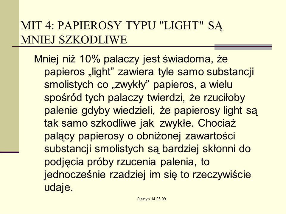 MIT 4: PAPIEROSY TYPU LIGHT SĄ MNIEJ SZKODLIWE