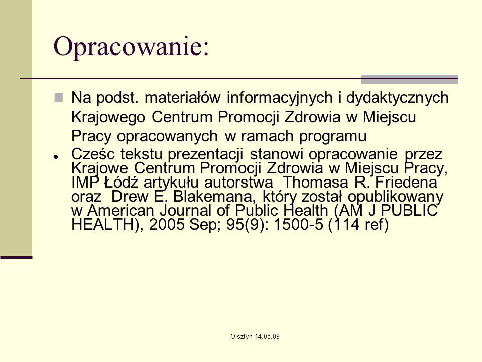 Opracowanie: Na podst. materiałów informacyjnych i dydaktycznych Krajowego Centrum Promocji Zdrowia w Miejscu Pracy opracowanych w ramach programu.