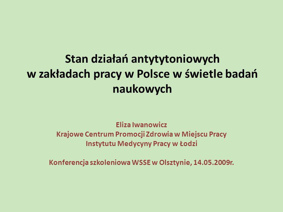 Stan działań antytytoniowych w zakładach pracy w Polsce w świetle badań naukowych