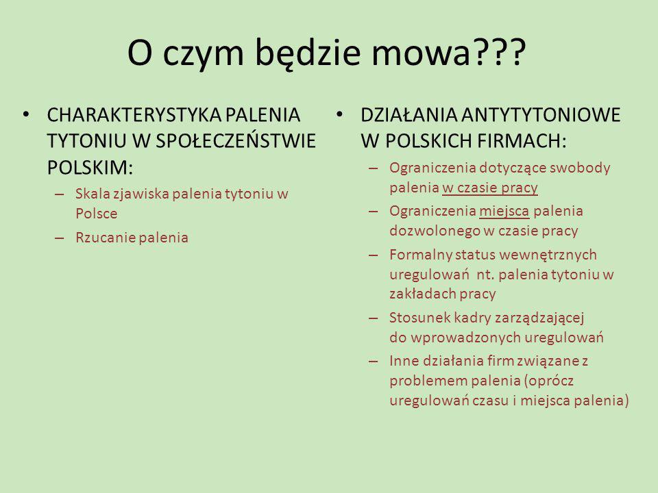 O czym będzie mowa CHARAKTERYSTYKA PALENIA TYTONIU W SPOŁECZEŃSTWIE POLSKIM: Skala zjawiska palenia tytoniu w Polsce.