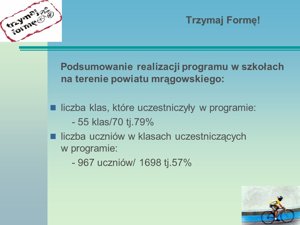 Trzymaj Formę! Podsumowanie realizacji programu w szkołach na terenie powiatu mrągowskiego: liczba klas, które uczestniczyły w programie:
