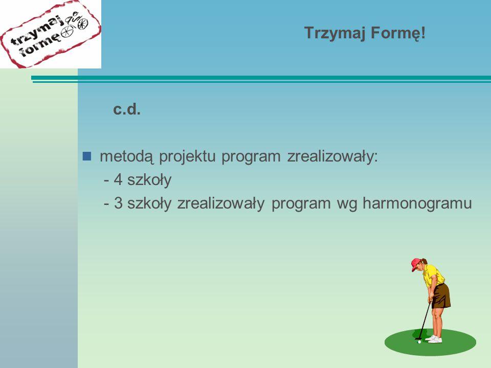 Trzymaj Formę. c.d. metodą projektu program zrealizowały: - 4 szkoły.
