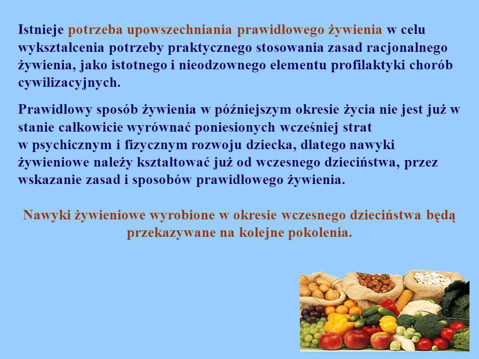 Istnieje potrzeba upowszechniania prawidłowego żywienia w celu wykształcenia potrzeby praktycznego stosowania zasad racjonalnego żywienia, jako istotnego i nieodzownego elementu profilaktyki chorób cywilizacyjnych.