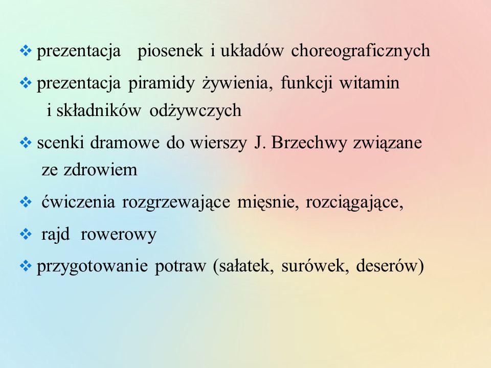 prezentacja piosenek i układów choreograficznych