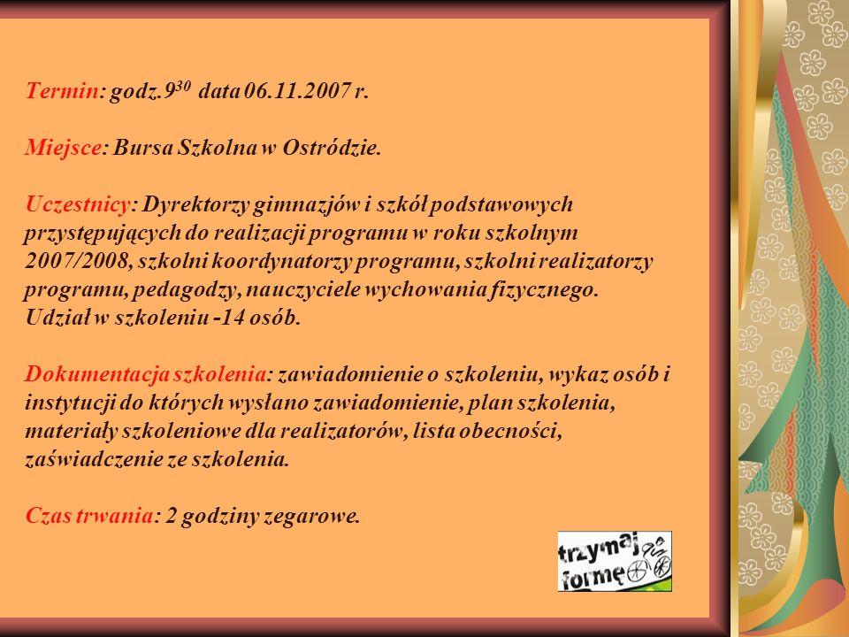 Termin: godz.930 data 06.11.2007 r. Miejsce: Bursa Szkolna w Ostródzie.