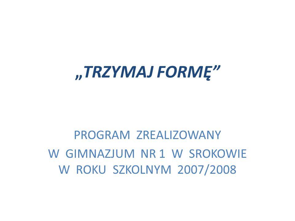 W GIMNAZJUM NR 1 W SROKOWIE W ROKU SZKOLNYM 2007/2008