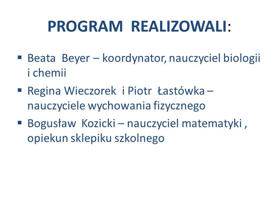 PROGRAM REALIZOWALI: Beata Beyer – koordynator, nauczyciel biologii i chemii.