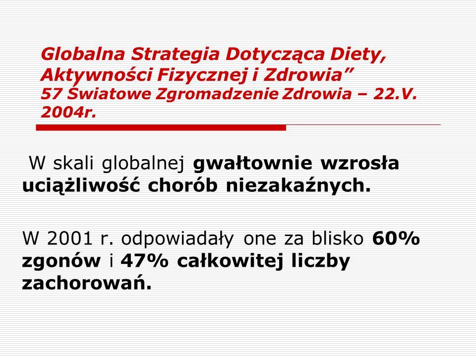 Globalna Strategia Dotycząca Diety, Aktywności Fizycznej i Zdrowia 57 Światowe Zgromadzenie Zdrowia – 22.V. 2004r.