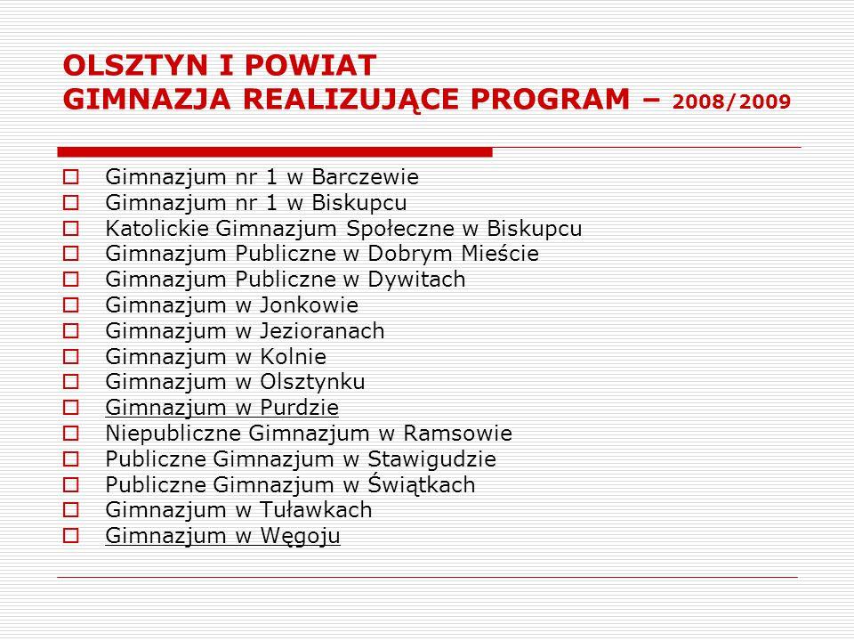OLSZTYN I POWIAT GIMNAZJA REALIZUJĄCE PROGRAM – 2008/2009