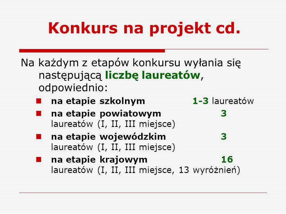 Konkurs na projekt cd. Na każdym z etapów konkursu wyłania się następującą liczbę laureatów, odpowiednio: