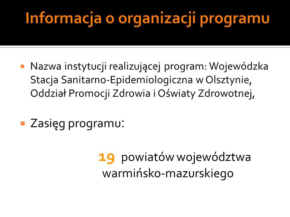 Informacja o organizacji programu